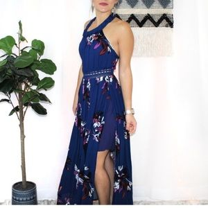 ILLA ILLA Royal Floral Crochet Slit Maxi Dress